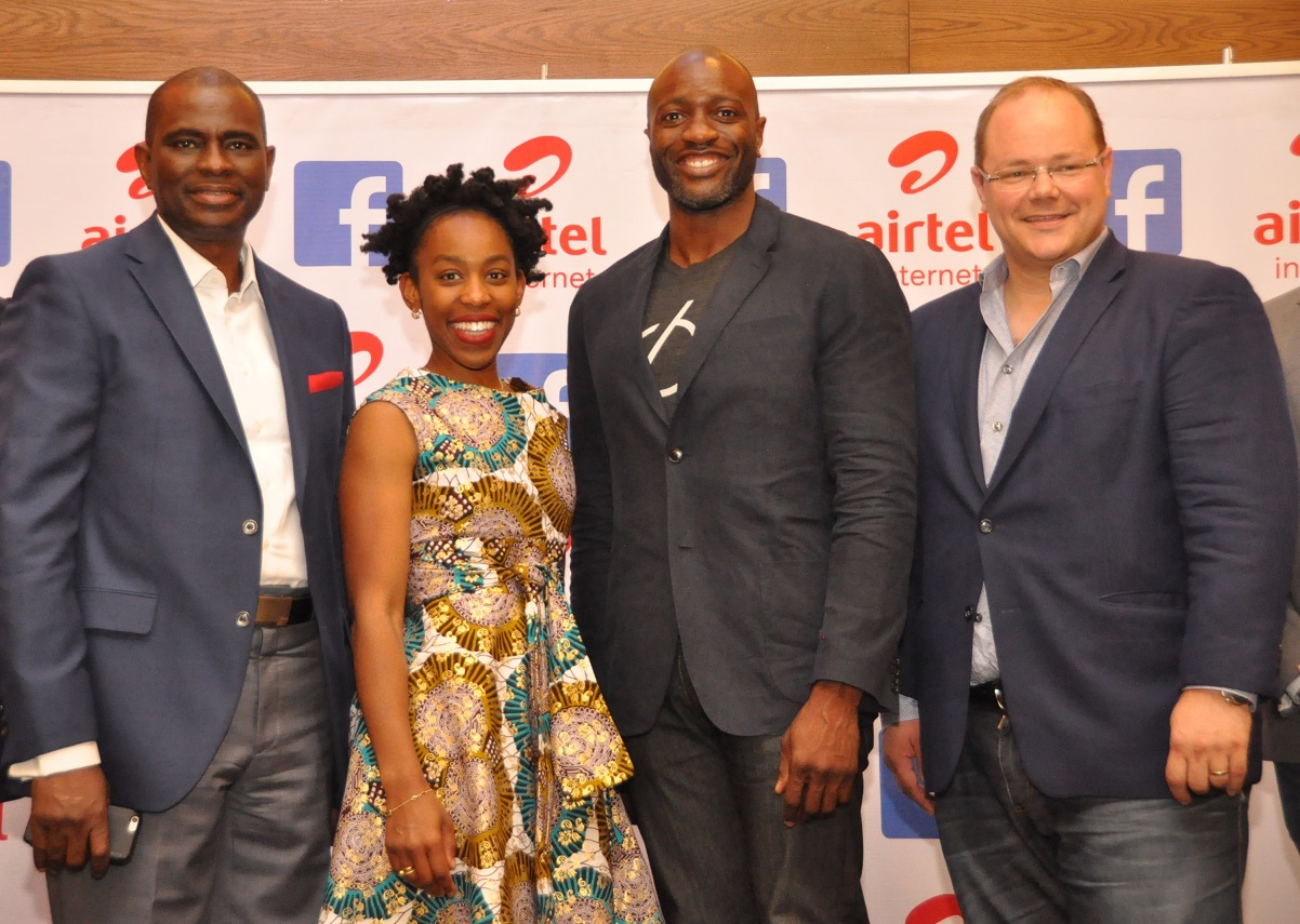L-R, Managing Director and Chief Executive Officer, Airtel Nigeria, Mr. Segun Ogunsanya; Global Director Product Partnerships, Ime Archibong with Global Director Operator Partnerships, Markku Makelainen, both of Facebook, during the launch of Free Basic Services by Airtel in partnership with Facebook held at Victoria Island, Lagos recently