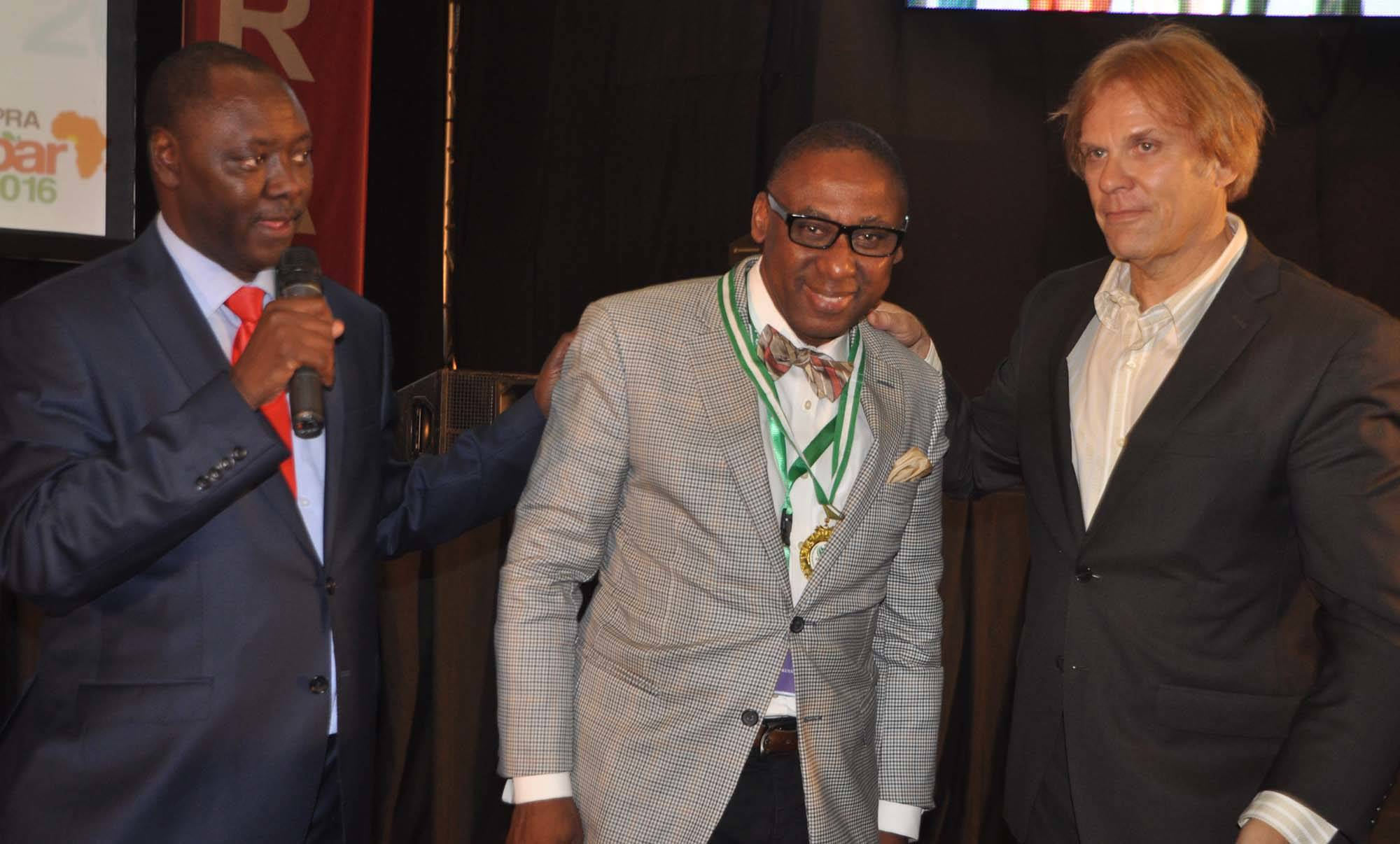Peter Mutie, outgoing President of the African Public Relations Association (APRA) (left) presents the newly elected President,Yomi Badejo-Okusanya to delegates at the just concluded APRA Calabar 2016 Conference. With them isBart de Vries, President of the International Public Relations Association (IPRA)