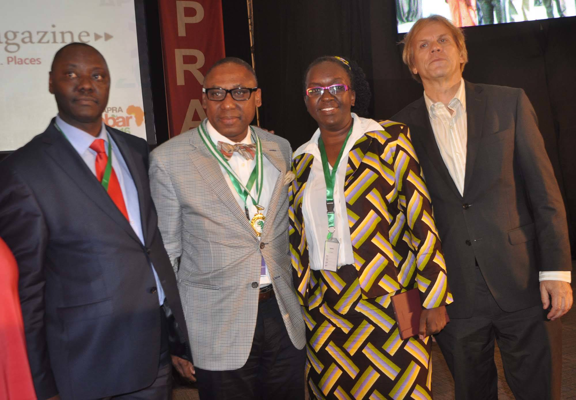 From left: Peter Mutie, outgoing President of the African Public Relations Association (APRA); Yomi Badejo-Okusanya, new APRA President; Ms Jane Gitau, new APRA Secretary General who is also President,Public Relations Societyof Kenya; andBart de Vries, President of the International Public relations Association (IPRA) after the inauguration of the new APRA Executive at the just concluded APRA Calabar 2016 Conference