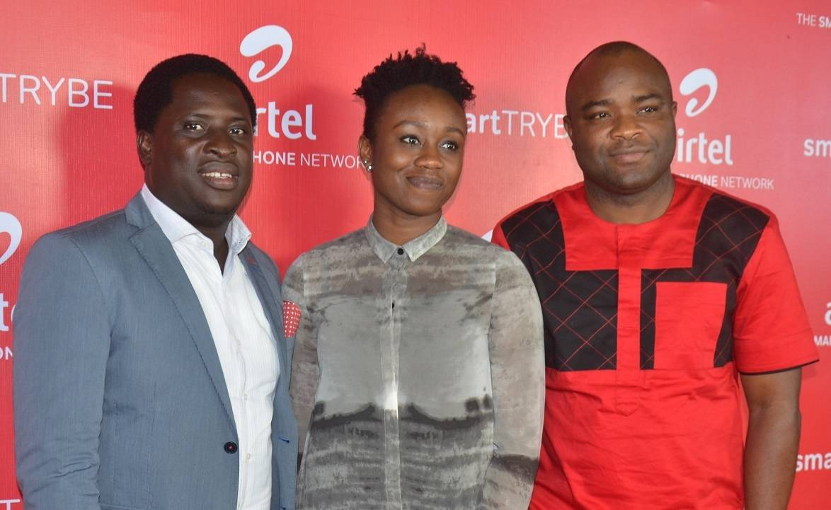 L-R: Communications Manager, Erhumu Bayagbon; Head, Youth Segment, Omoyeme Effiong and Vice President, Network Operations,Adedoyin Adeola,all of Airtel Nigeria, at the Smart Trybe Party held at Victoria Island, Lagos recently.